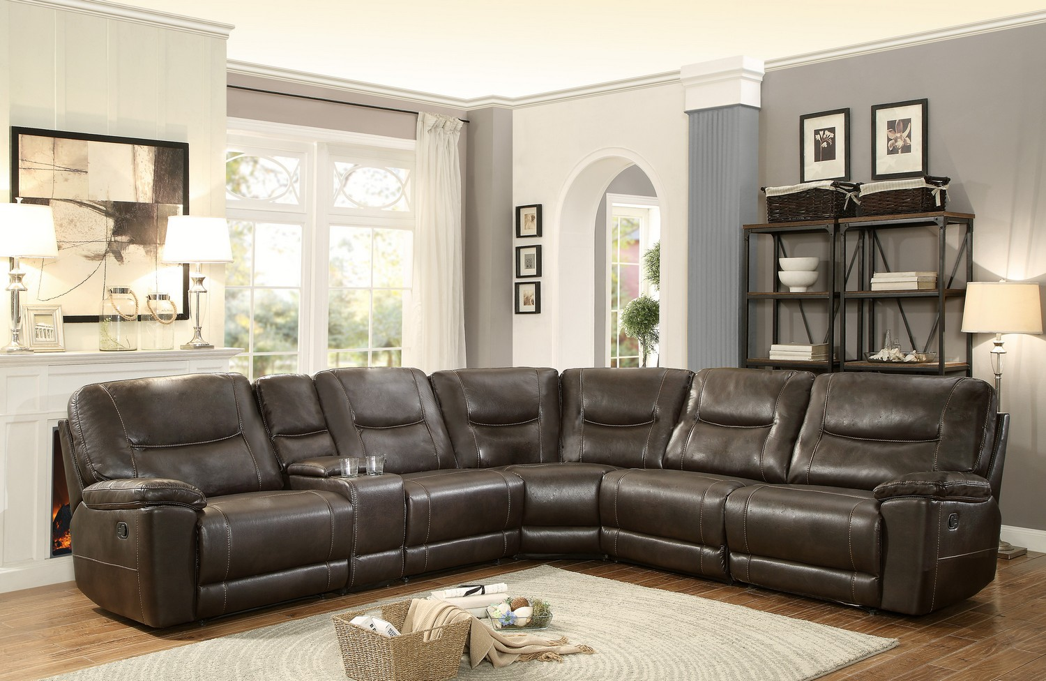 Homelegance Columbus Reclining Sectional Sofa Set D - Breathable Faux Leather - Dark Brown