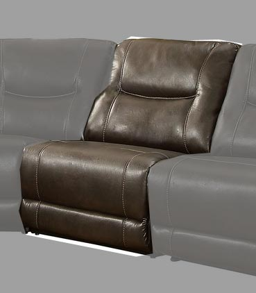 Homelegance Columbus Armless Reclining Chair - Breathable Faux Leather - Dark Brown