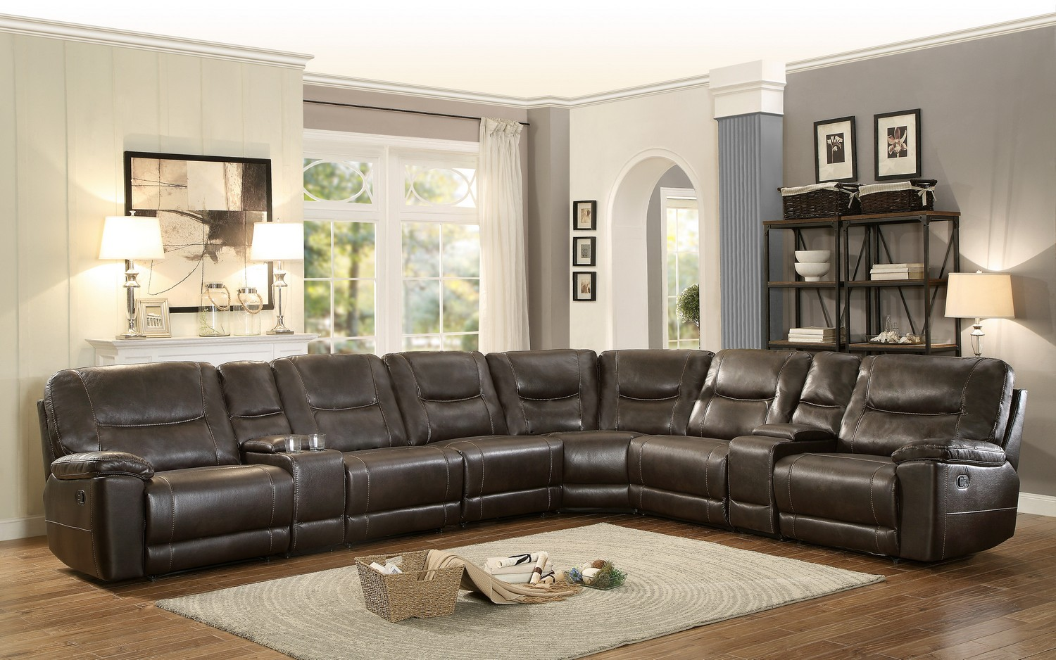 Homelegance Columbus Reclining Sectional Sofa Set E - Breathable Faux Leather - Dark Brown