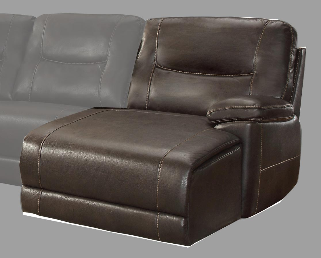 Homelegance Columbus Right Side Chaise, Push Back Recliner - Breathable Faux Leather - Dark Brown