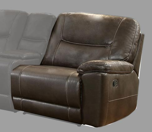 Homelegance Columbus Right Side Reclining Chair - Breathable Faux Leather - Dark Brown
