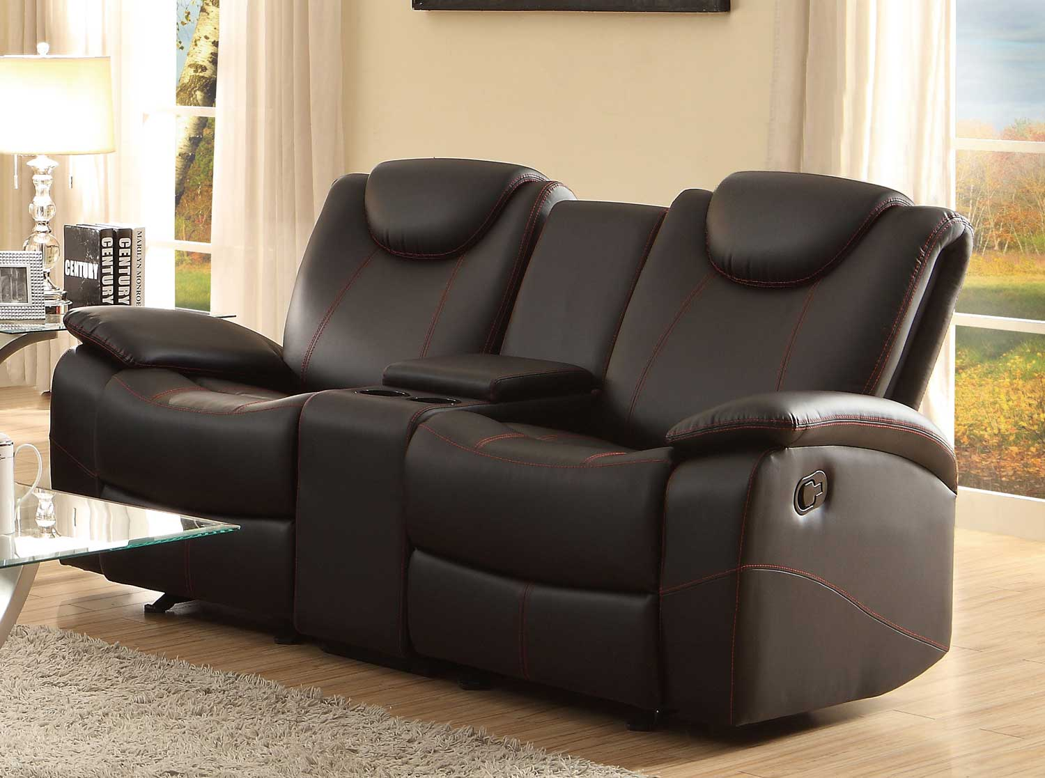 Homelegance talbot double glider reclining love seat with center console black bonded leather Reclining loveseat with center console