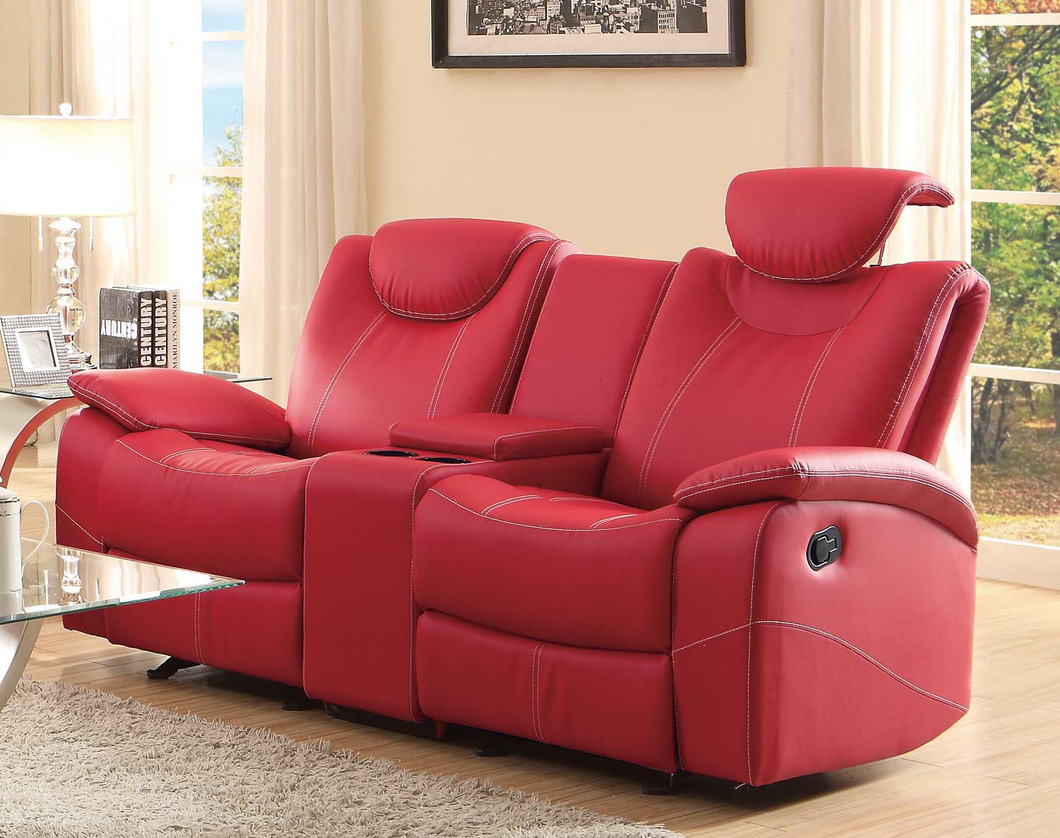 Homelegance talbot double glider reclining love seat with center console red bonded leather Reclining loveseat with center console