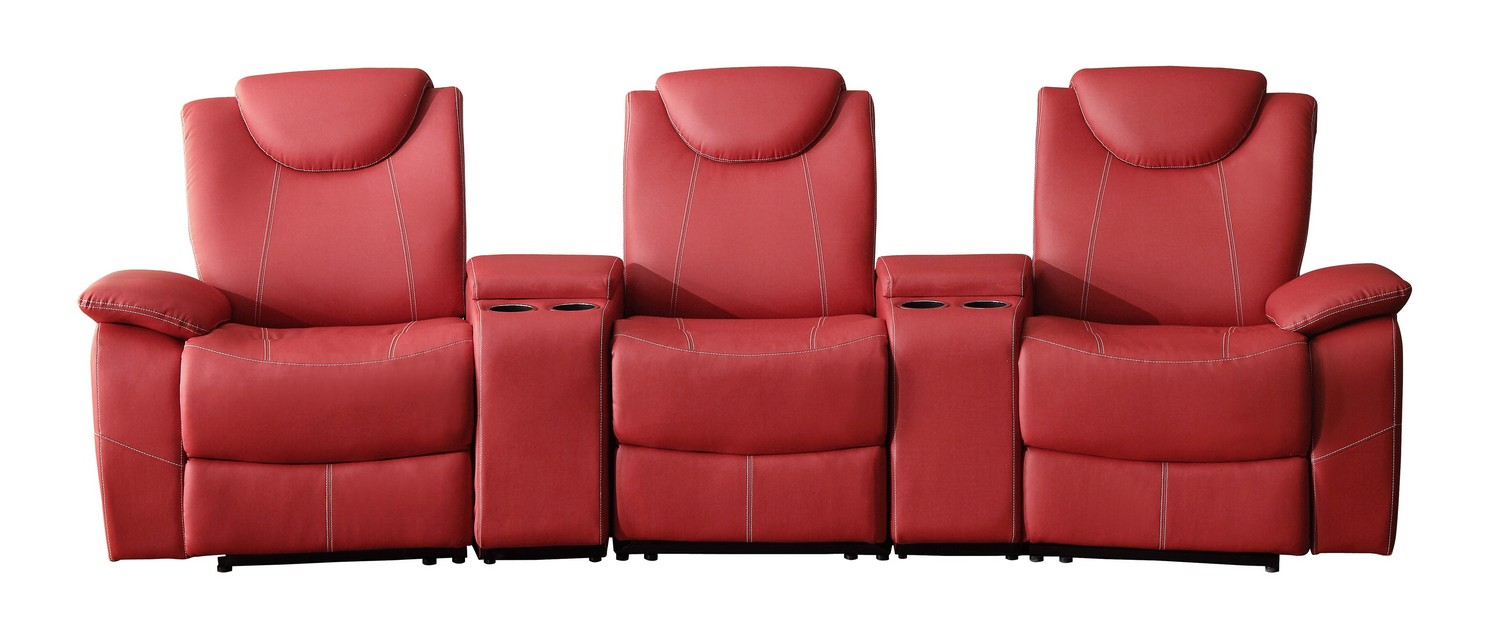 Homelegance Talbot Reclining Theater Seating - Bonded Leather Match - Red