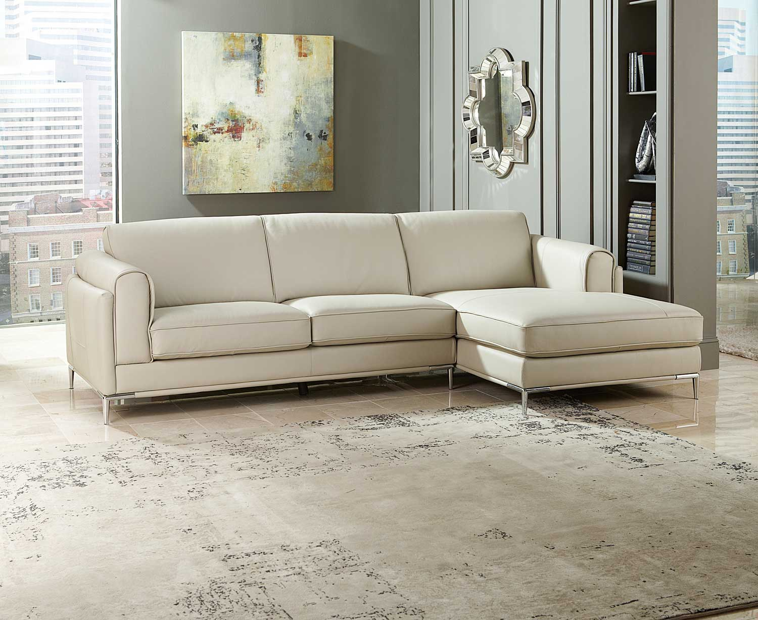 Charmant Homelegance Hugo Sectional Sofa   Beige Top Grain Leather U0026 Split Leather