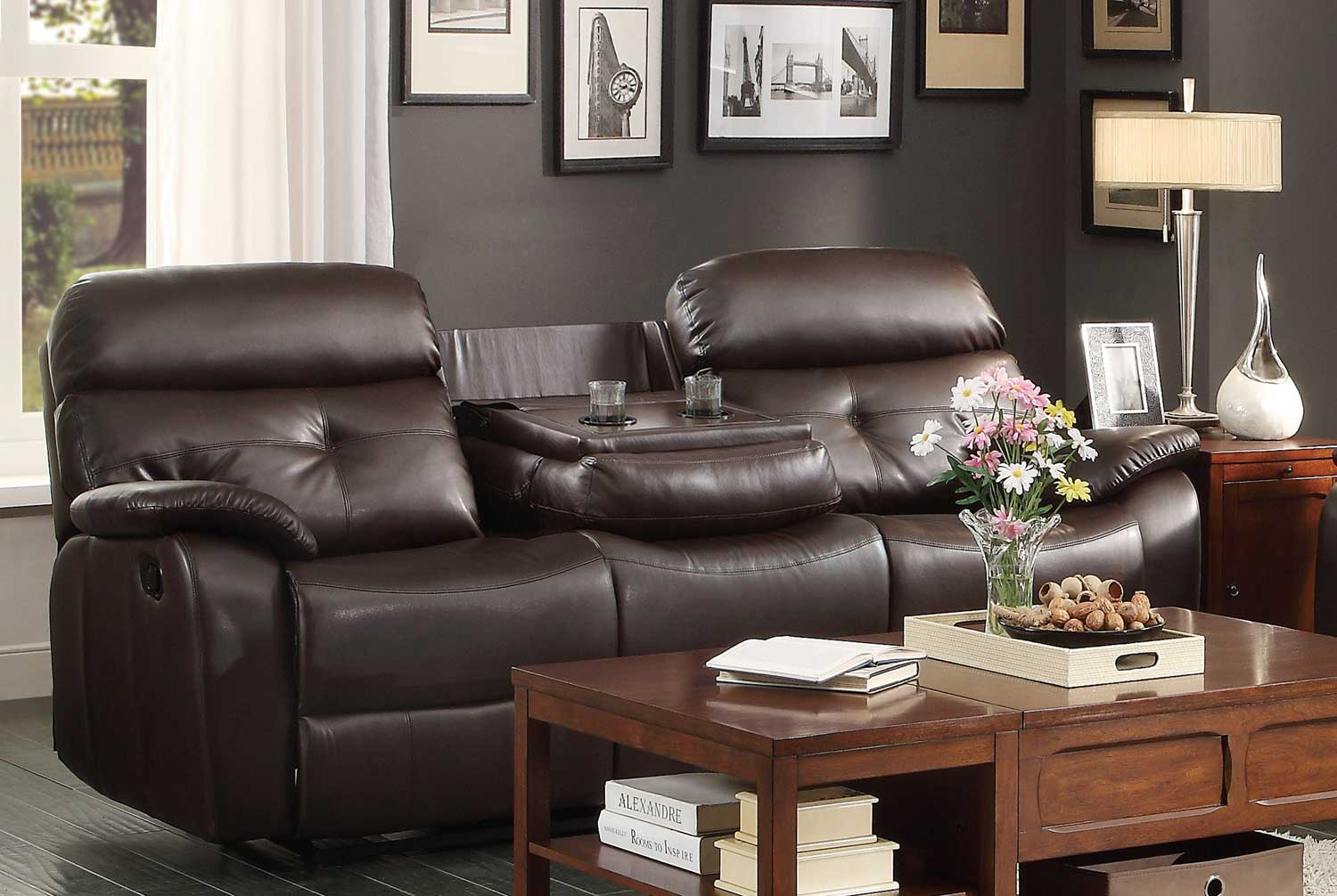 Homelegance Evana Double Reclining Sofa With Drop Down Center Cup Holders Dark Brown Bonded