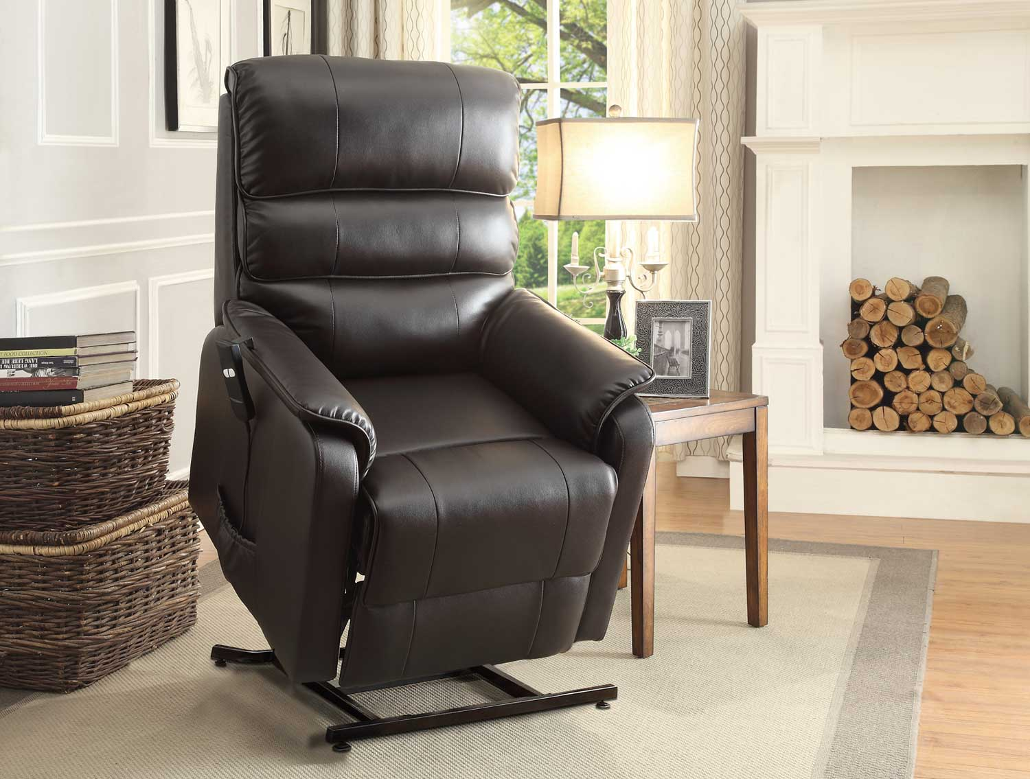 Leather lift chairs - Homelegance Kellen Power Lift Chair Dark Brown All Bonded Leather