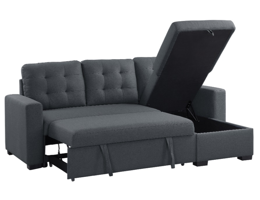 Homelegance Cornish 2-Piece Reversible Sectional with Pull-out Bed and Hidden Storage