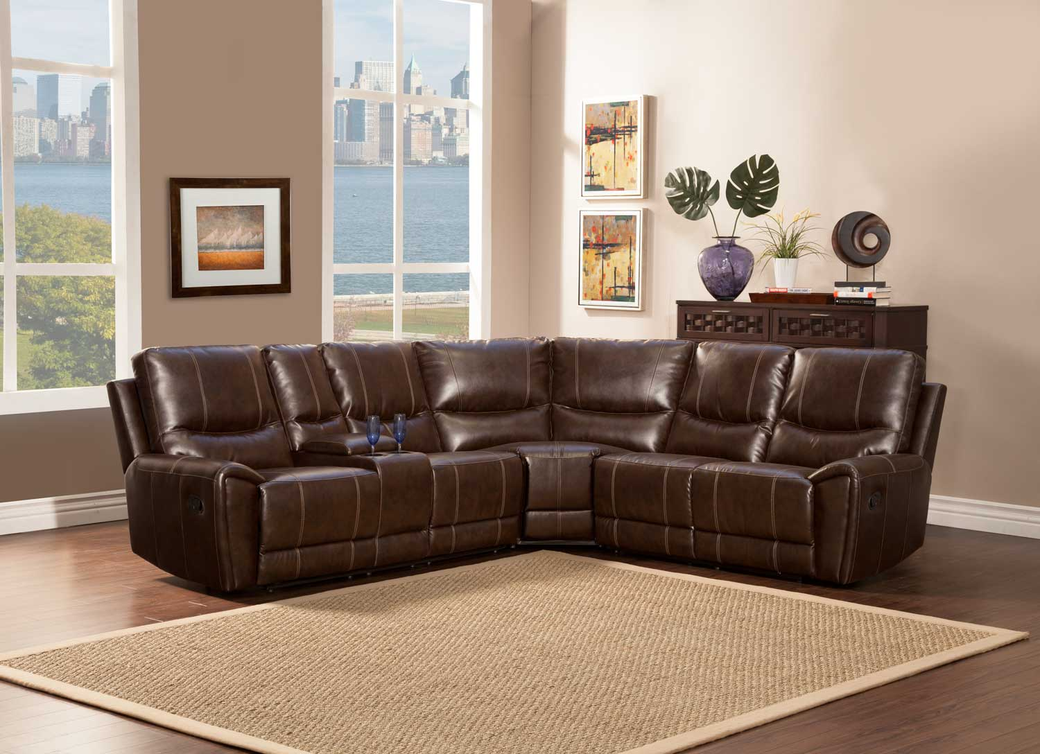 Homelegance Gerald Sectional Sofa - Brown - Bonded Leather Match