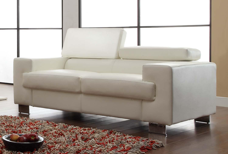 Homelegance Vernon Love Seat - White - Bonded Leather