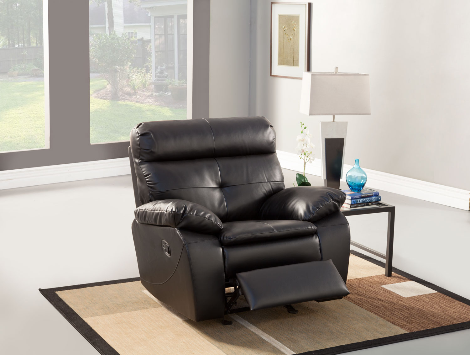 Homelegance Wallace Glider Recliner Chair - Black - Bonded Leather Match