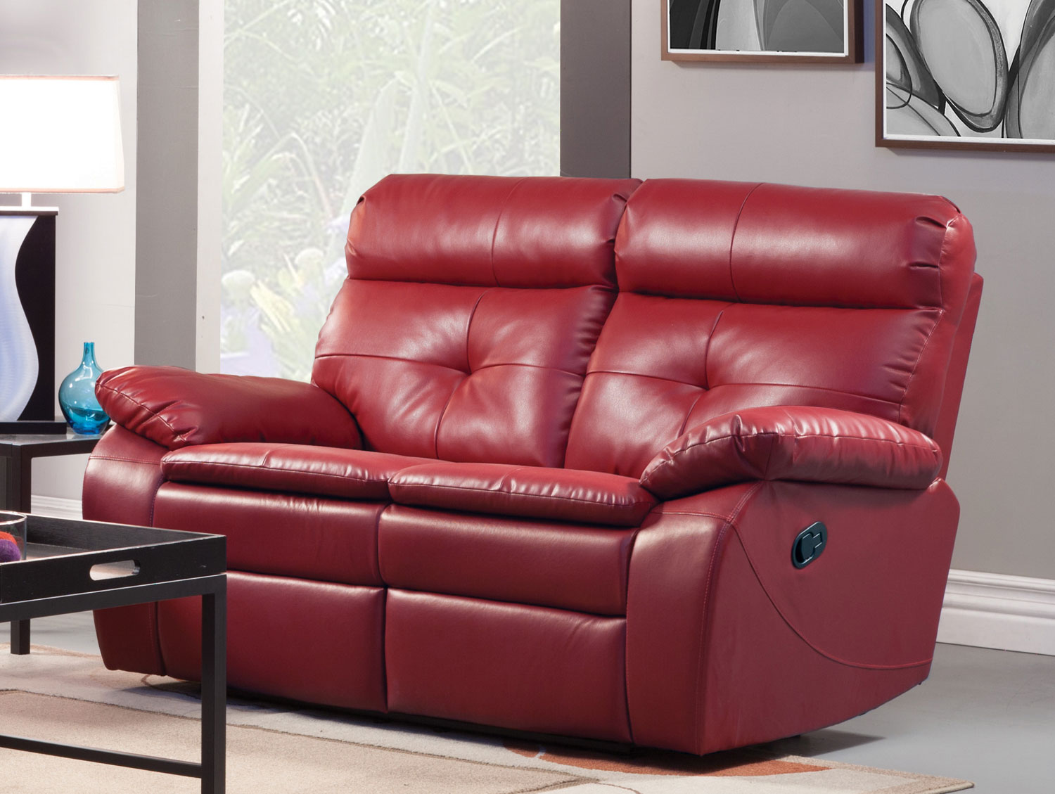 Homelegance wallace double reclining love seat red bonded leather match 9604red 2 Reclining loveseat sale