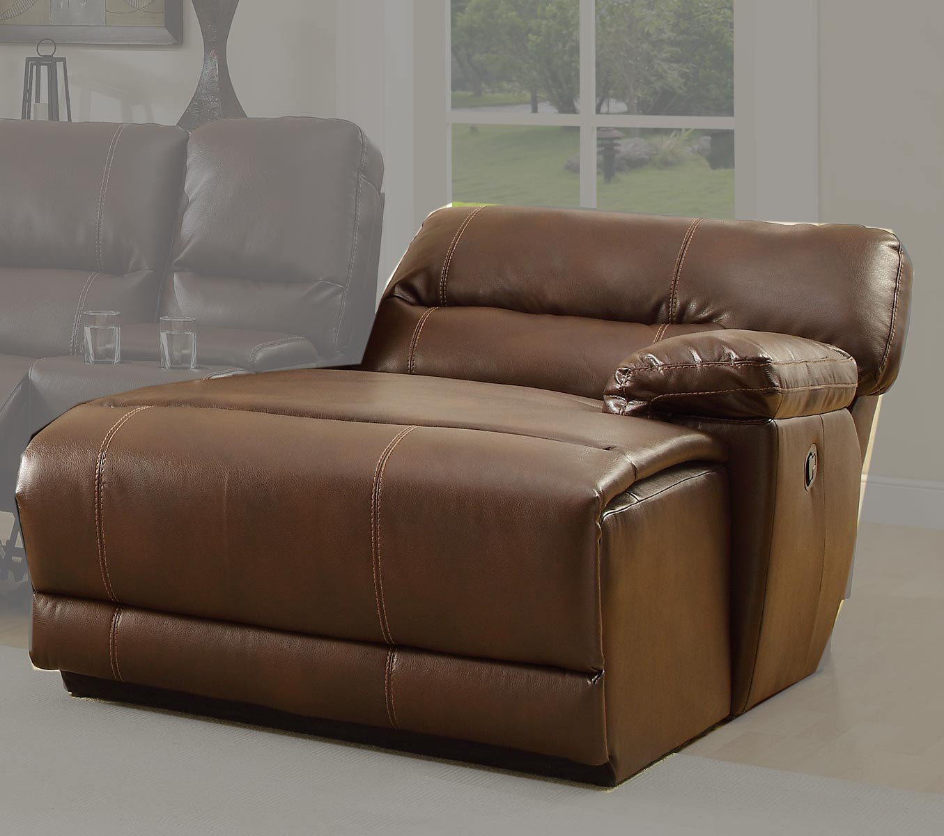 Homelegance blythe rsf back recliner chaise brown for Bonded leather chaise