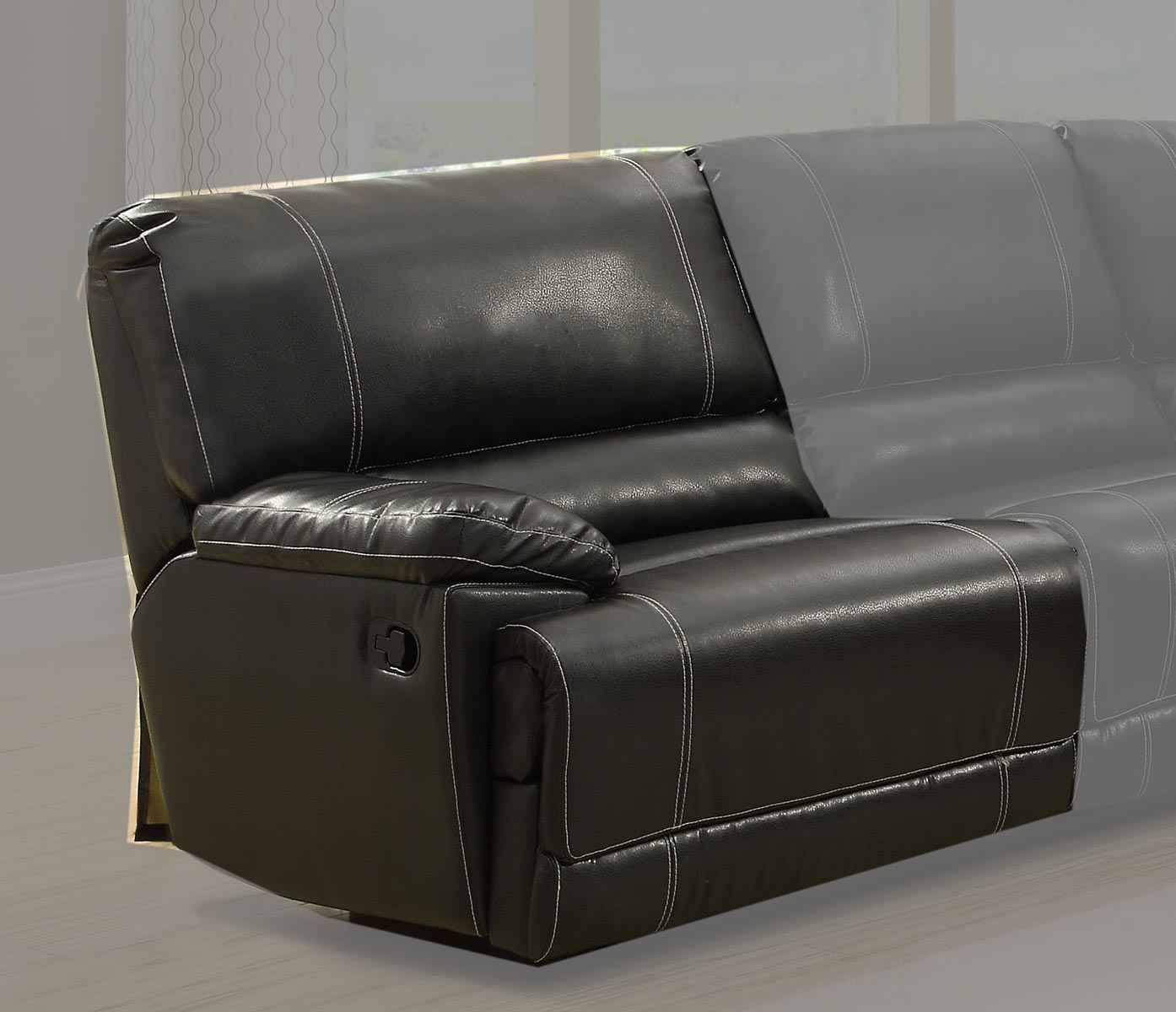 Homelegance Cale LSF Recliner Love Seat - Black - Bonded Leather Match