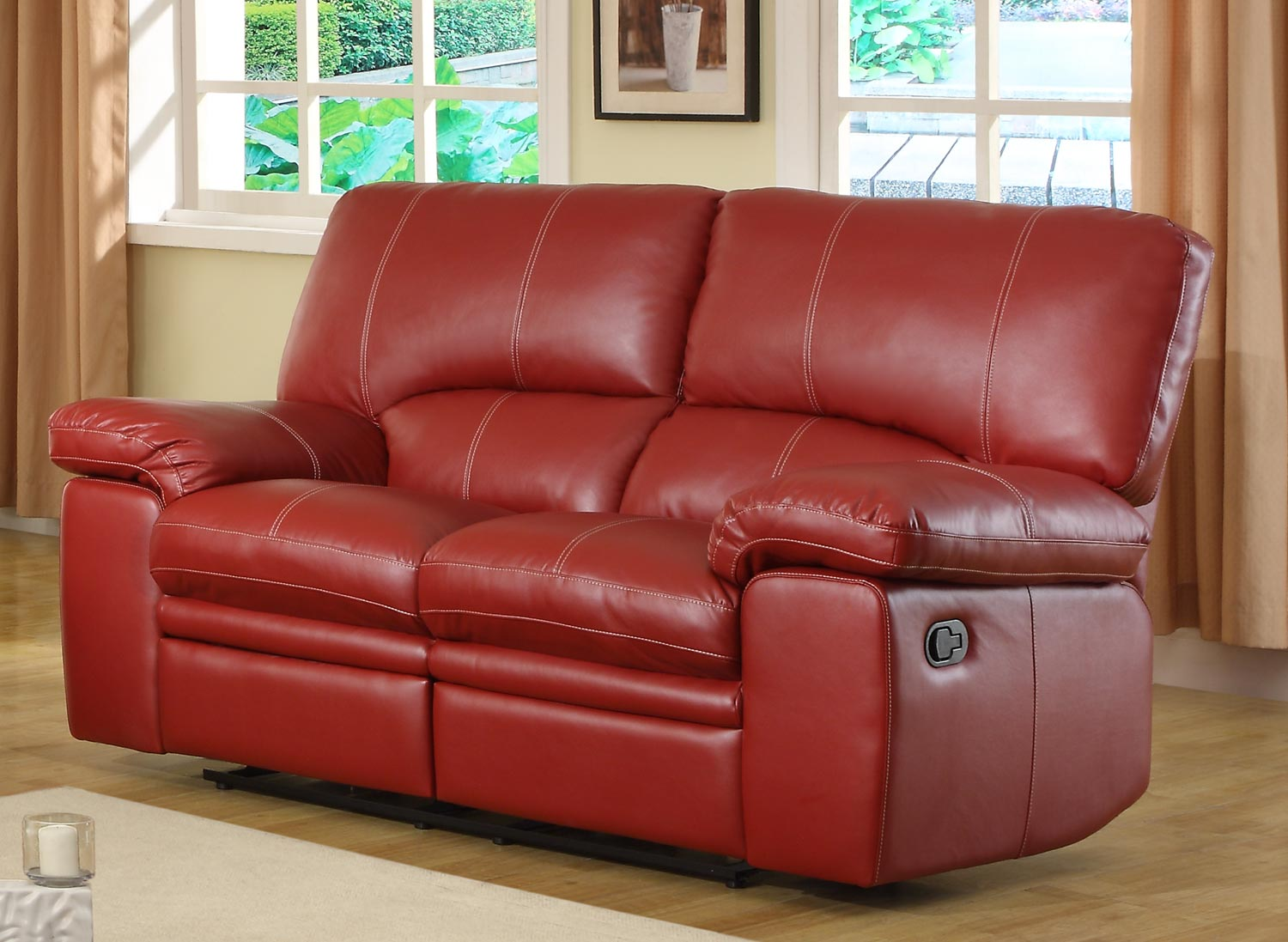 Homelegance kendrick reclining sofa set red bonded leather match u9611red 3 Leather loveseat recliners