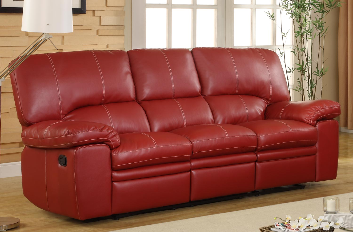 Homelegance kendrick double recliner sofa red bonded leather match 9611red 3
