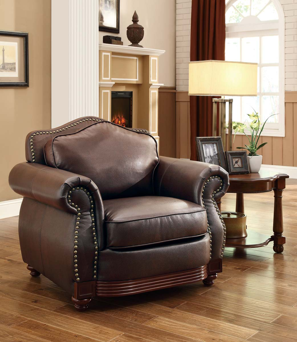 Homelegance Midwood Bonded Leather Chair   Dark Brown