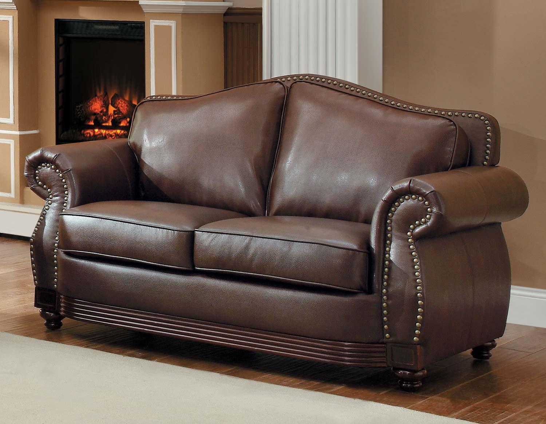 Homelegance Midwood Bonded Leather Love Seat - Dark Brown