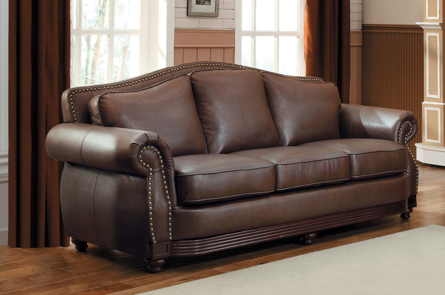 Homelegance midwood bonded leather sofa collection dark for Furniture leather sofa