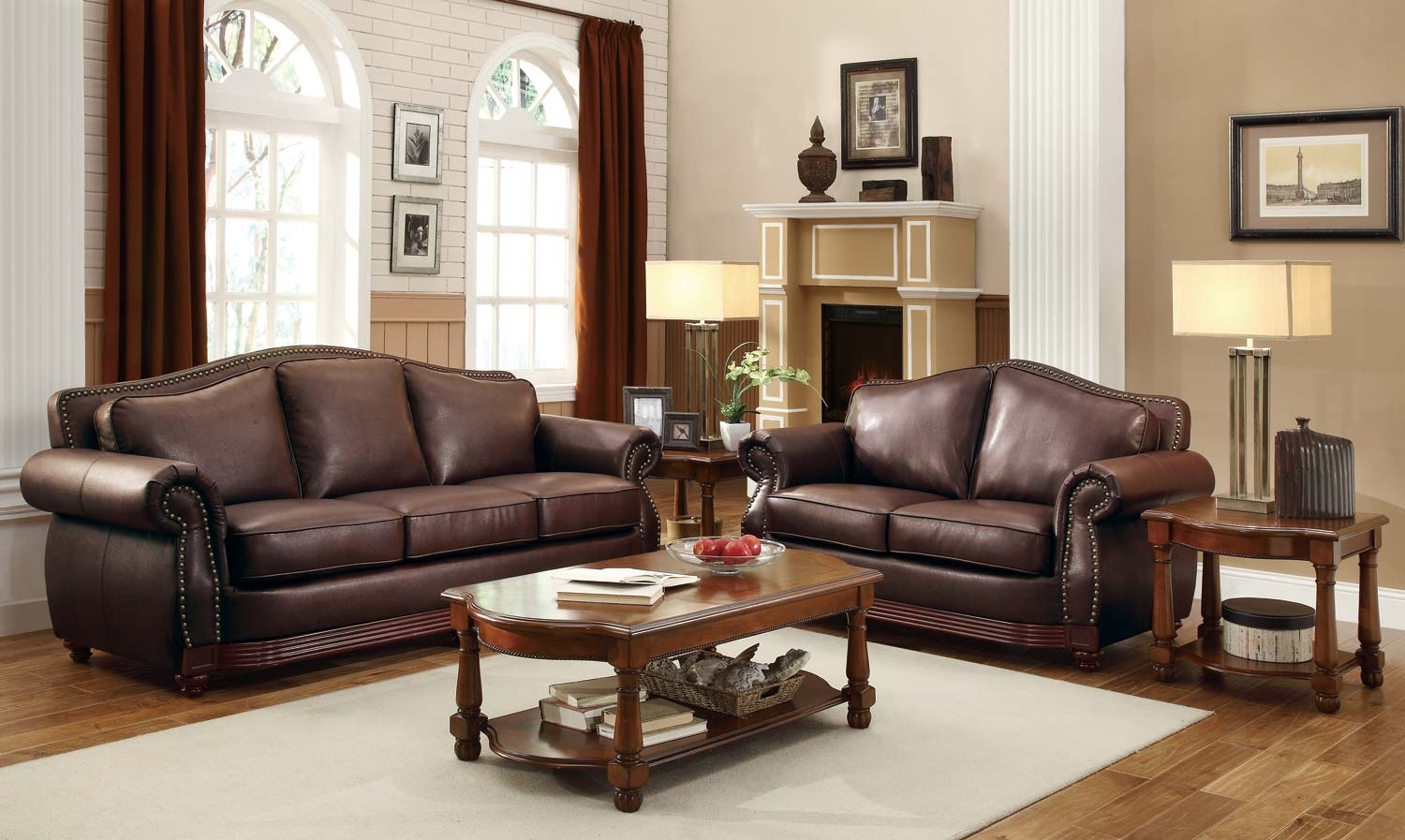 Homelegance Midwood Bonded Leather Sofa Collection Dark Brown