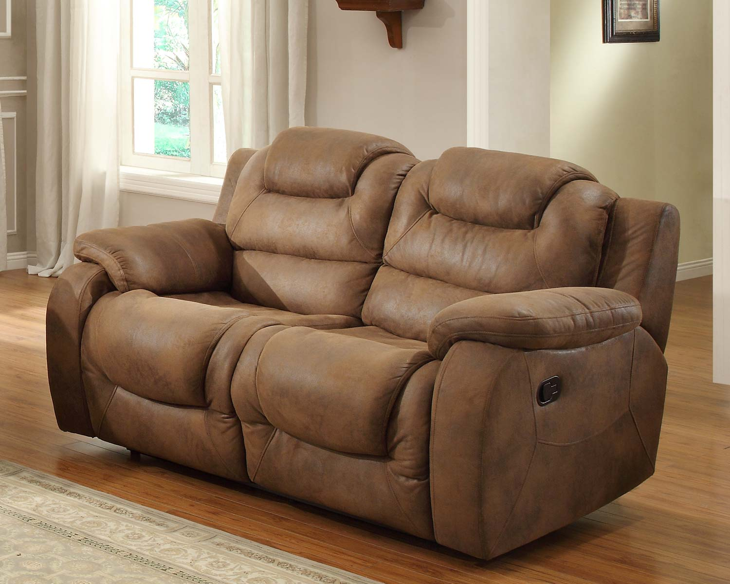Hoyt Double Recliner Love Seat   Brown Microfiber