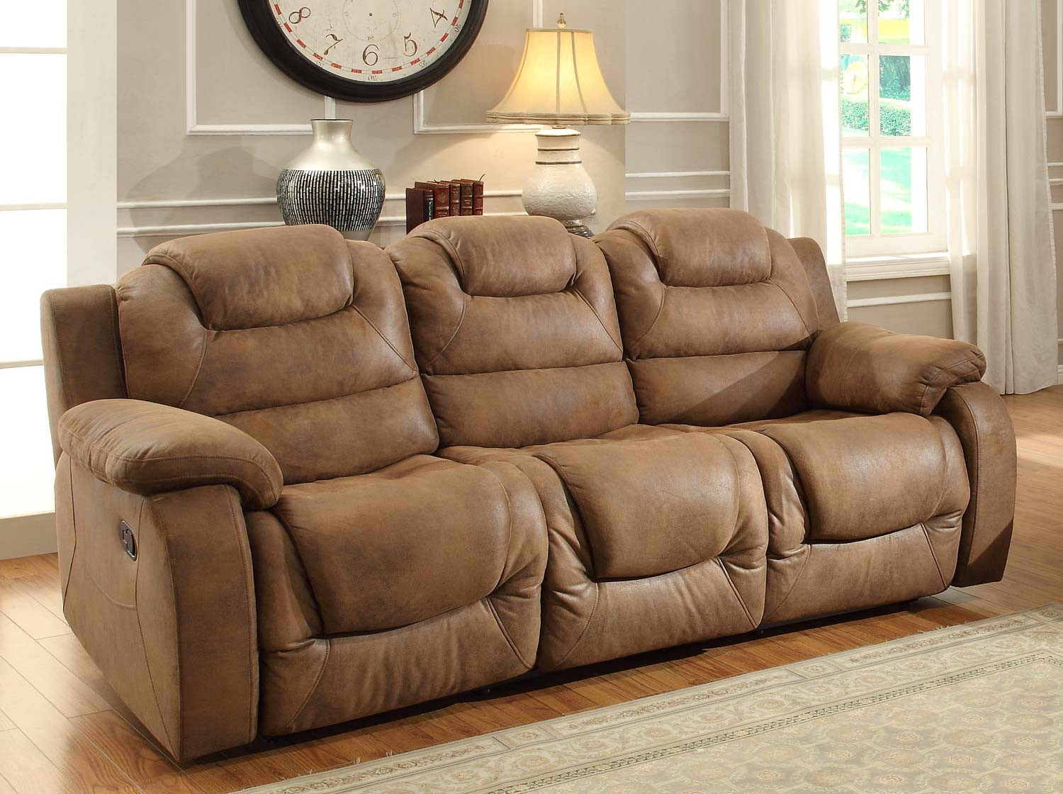 Homelegance Hoyt Double Recliner Sofa   Brown Microfiber