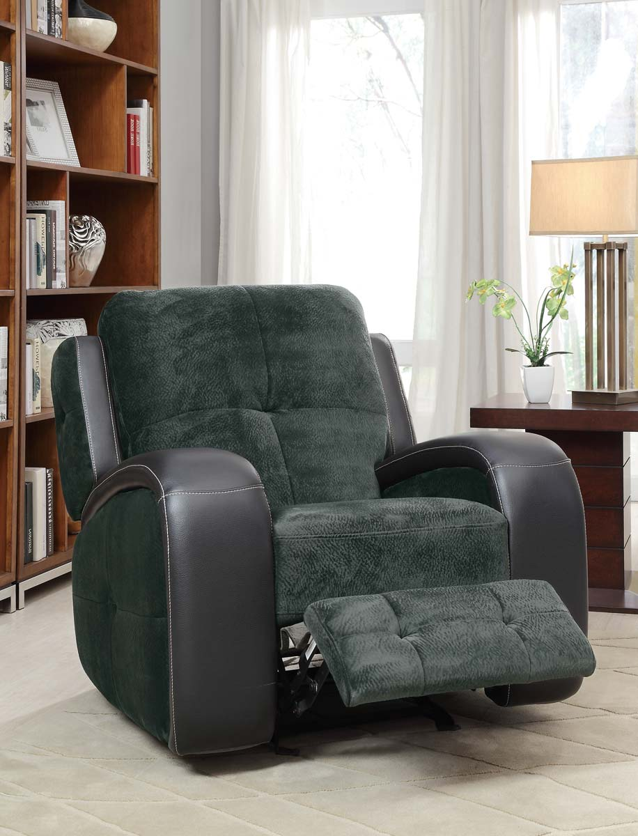 Homelegance Flatbush Glider Recliner Chair Textured Plush Microfiber Black Bi Cast Vinyl Cover