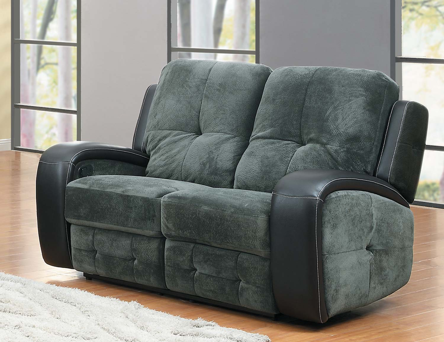 Homelegance Flatbush Reclining Sofa Set Textured Plush Microfiber Black Bi Cast Vinyl Cover