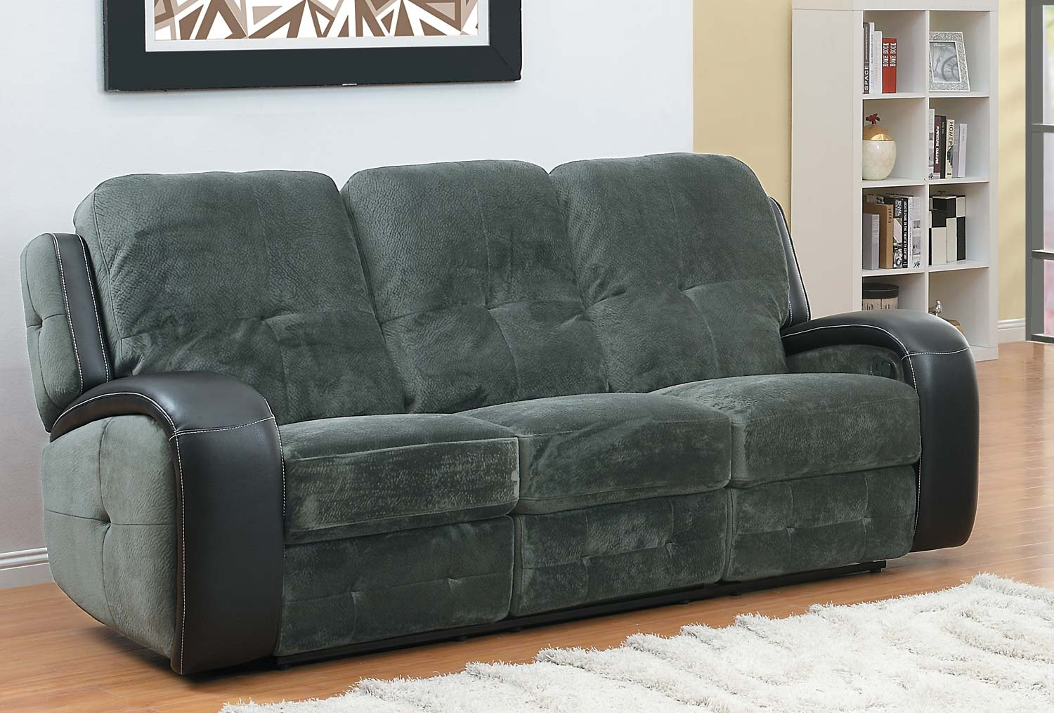 Homelegance Flatbush Double Recliner Sofa - Textured Plush Microfiber - Black Bi-Cast Vinyl Cover