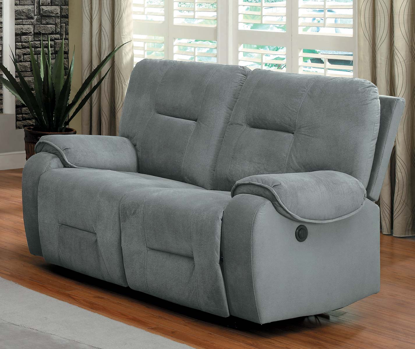 Homelegance Bensonhurst Power Double Reclining Love Seat - Blue Grey - Textured Micro Fiber