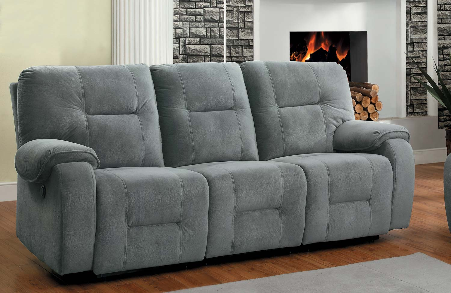 Homelegance Bensonhurst Power Double Reclining Sofa Blue