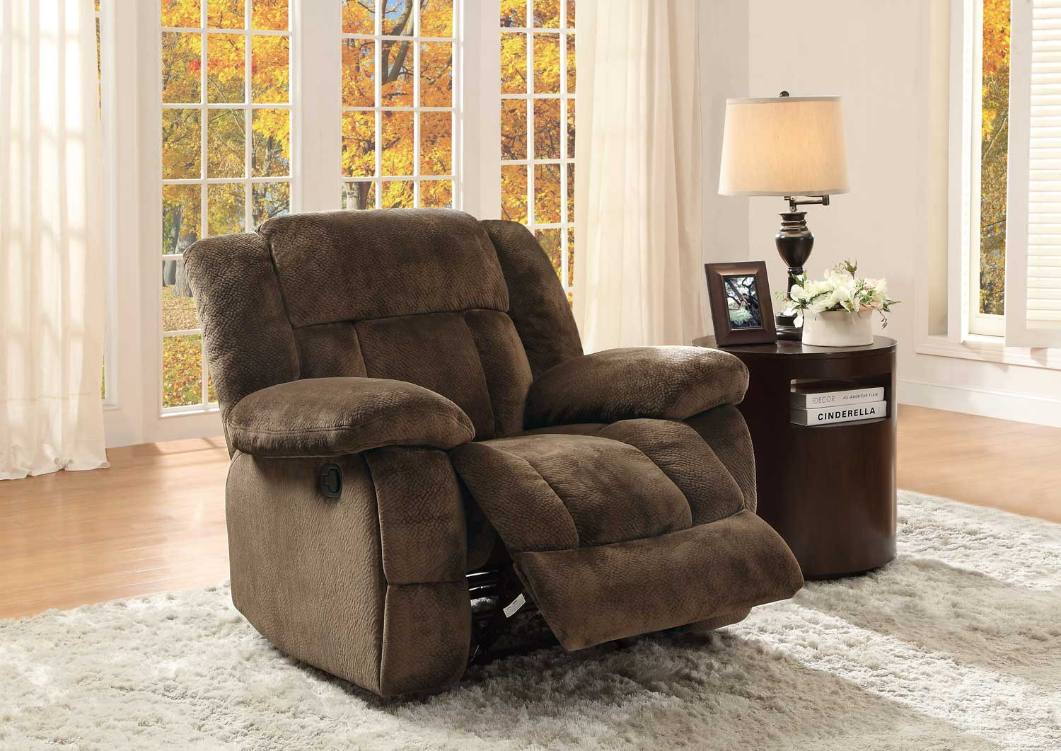 homelegance laurelton glider reclining chair chocolate textured plush microfiber