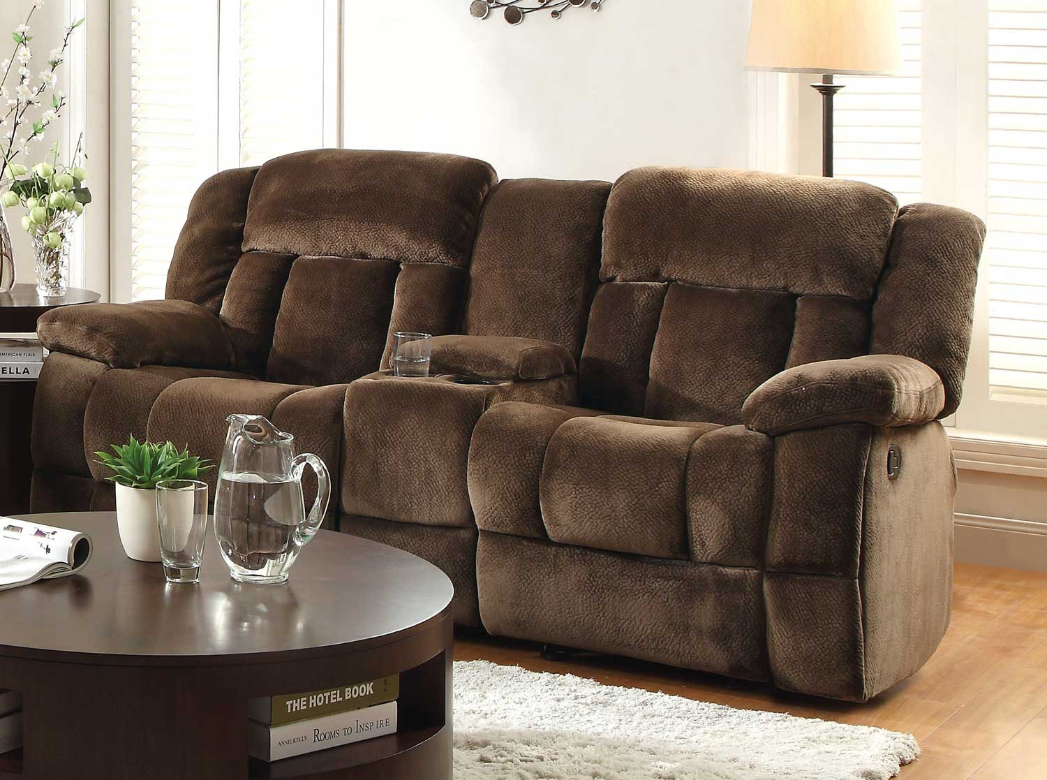 Homelegance laurelton reclining sofa set chocolate textured plush microfiber u9636 3 Reclining loveseat with center console