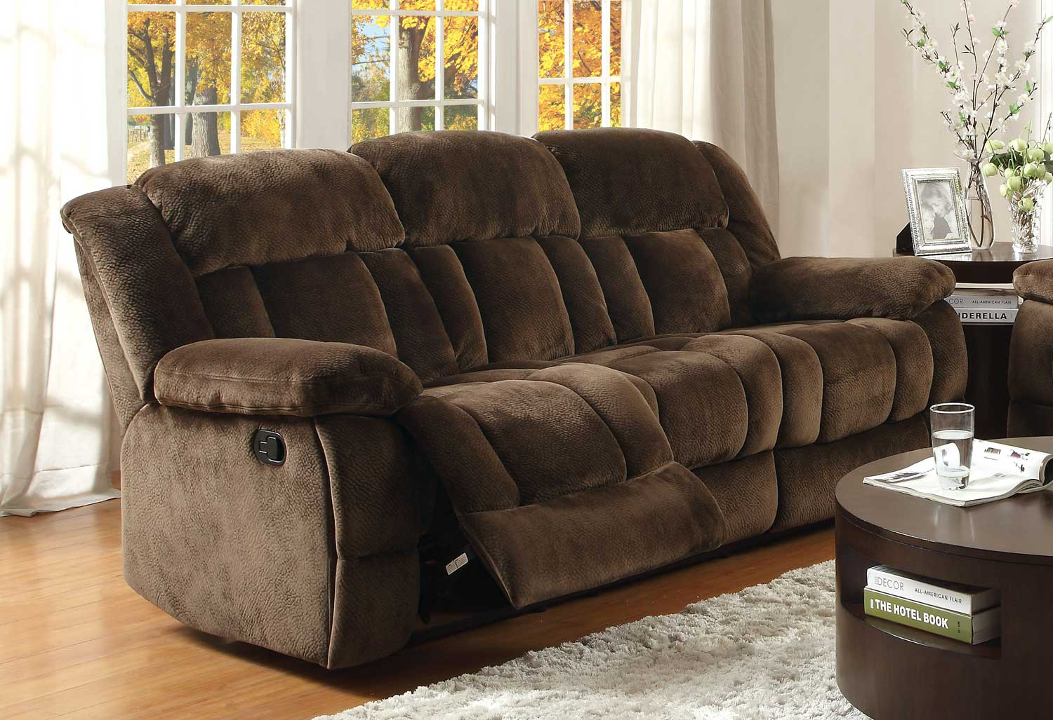 homelegance laurelton reclining sofa set chocolate textured plush microfiber u9636 3. Black Bedroom Furniture Sets. Home Design Ideas