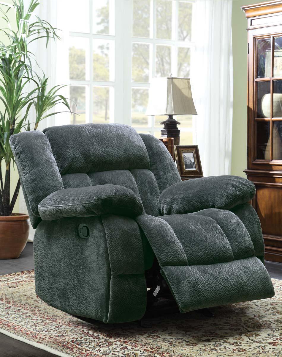 Homelegance Laurelton Glider Reclining Chair - Charcoal - Textured Plush Microfiber