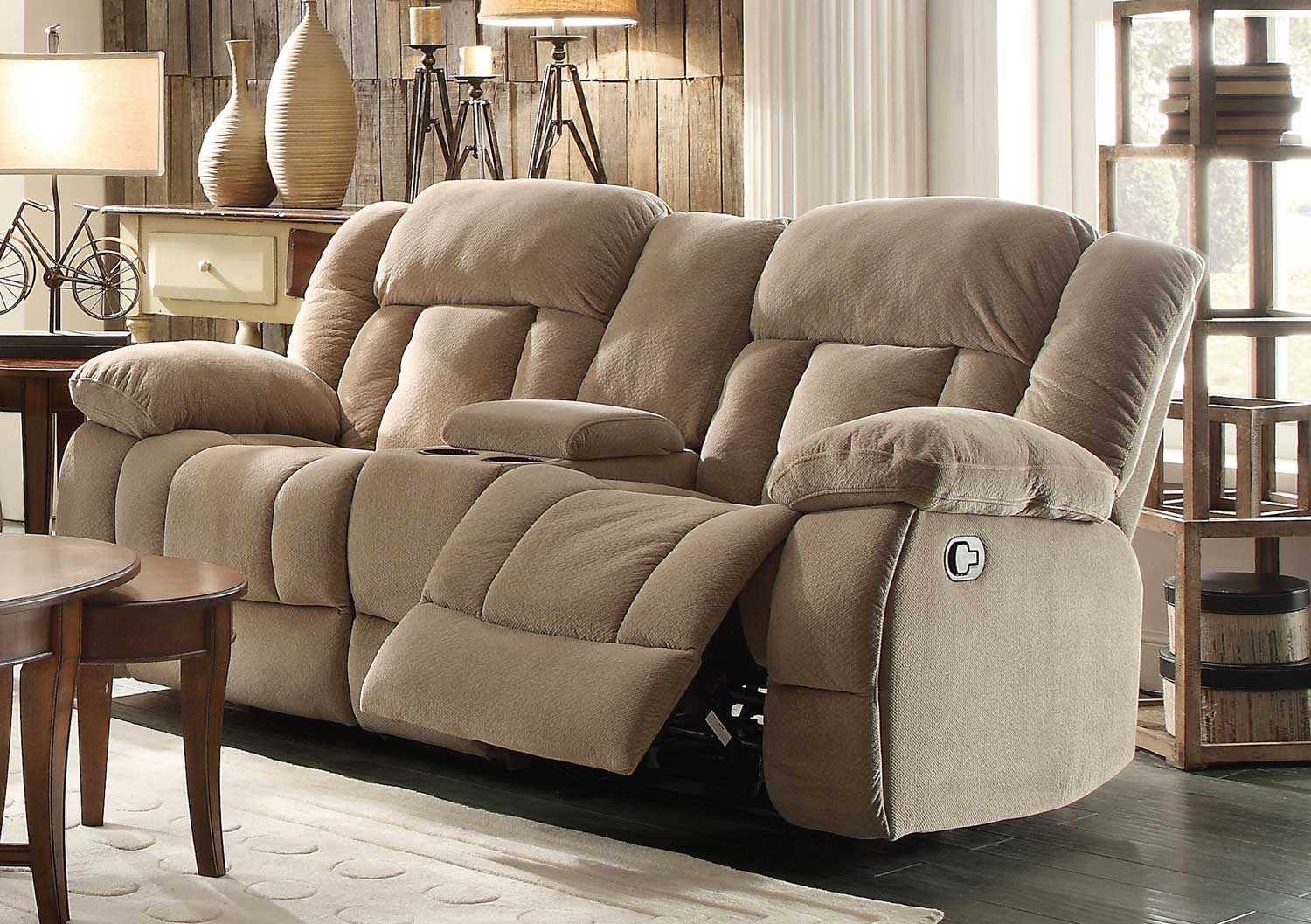 Homelegance Laurelton Double Glider Reclining Love Seat with Center Console - Taupe Fabric & Homelegance Laurelton Double Glider Reclining Love Seat with ... islam-shia.org