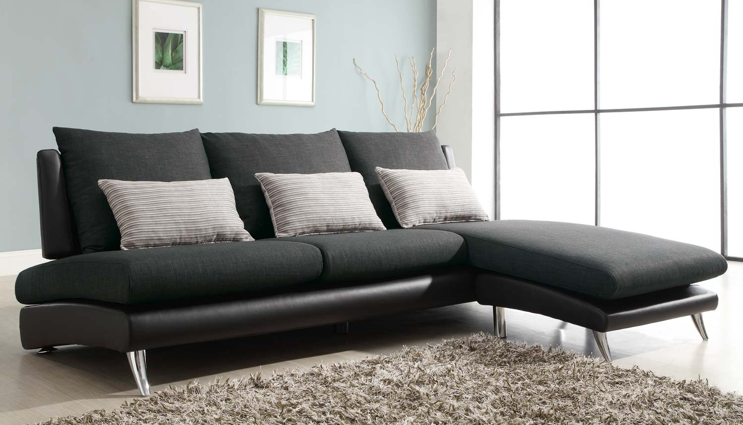 High Quality Homelegance Codman Reversible Sectional Sofa Chaise   Dark Grey   Polyester  And Black Vinyl
