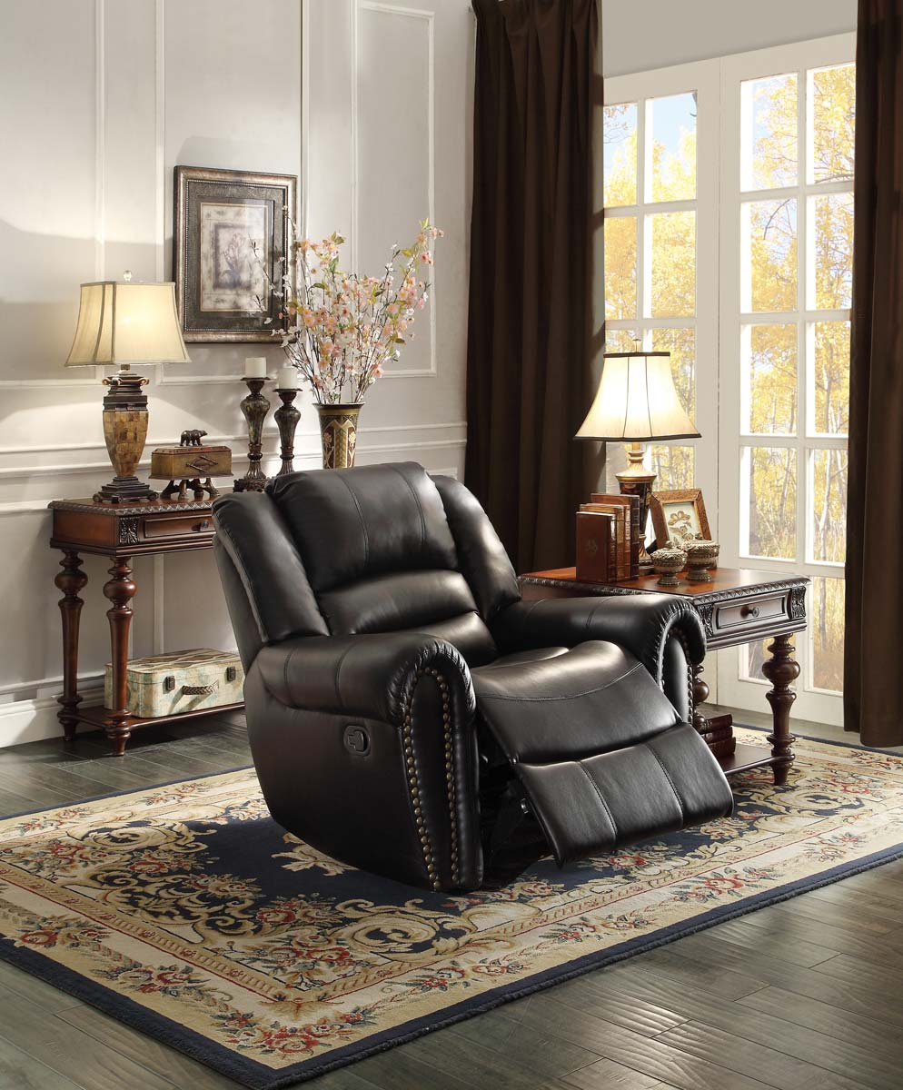 Homelegance Center Hill Glider Reclining Chair - Black Bonded Leather Match