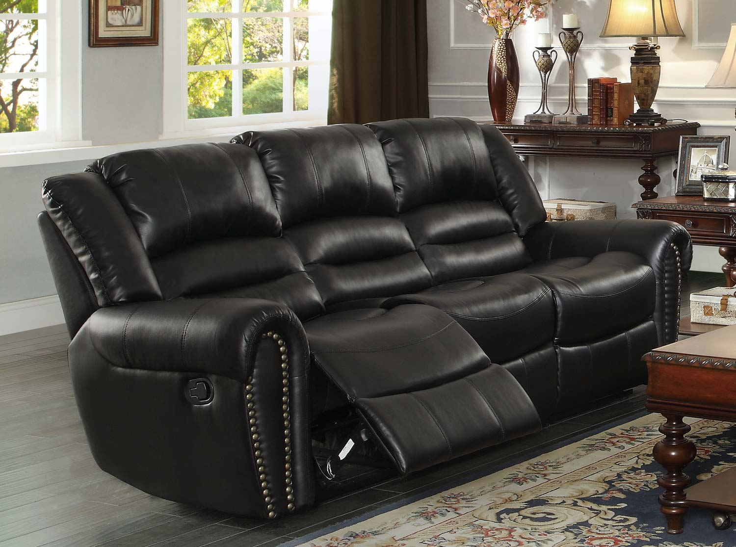 Homelegance Center Hill Double Reclining Sofa Black Bonded Leather Match