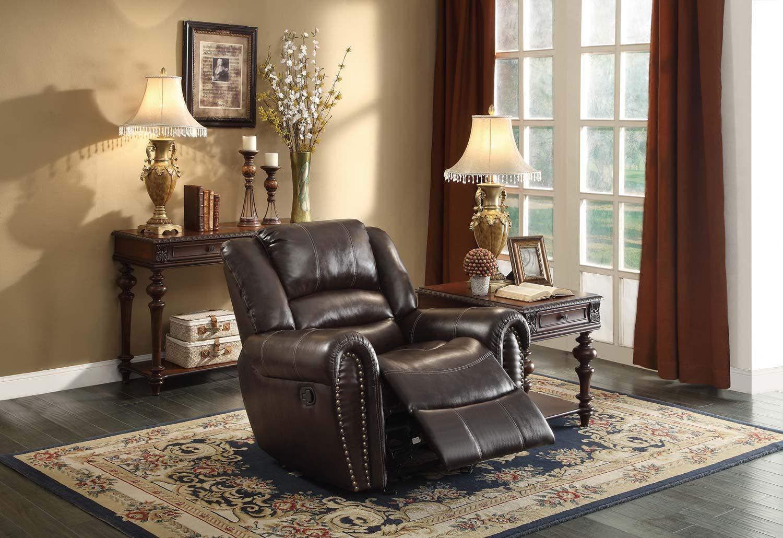 Homelegance Center Hill Glider Reclining Chair - Dark Brown Bonded Leather Match