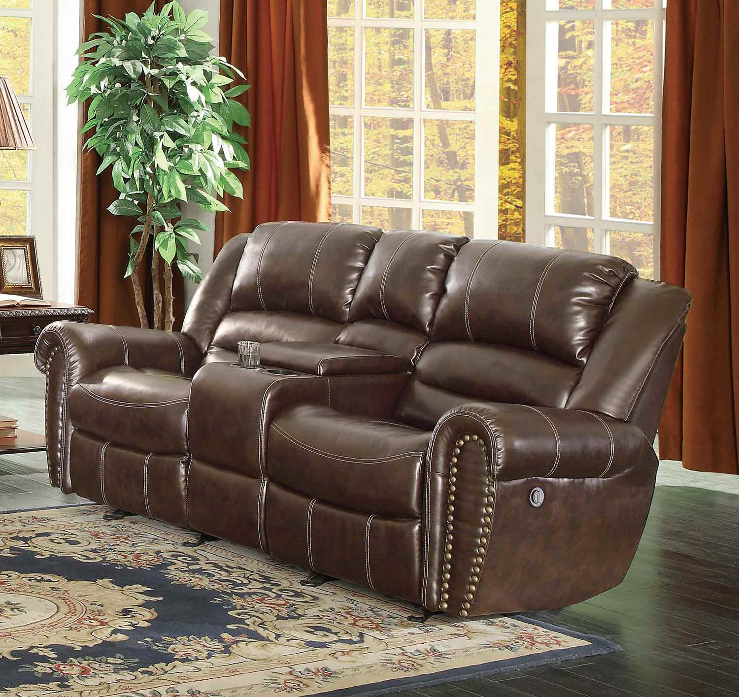 Homelegance center hill power reclining sofa set dark brown 9668brw 3pw sofa set Reclining loveseat with center console