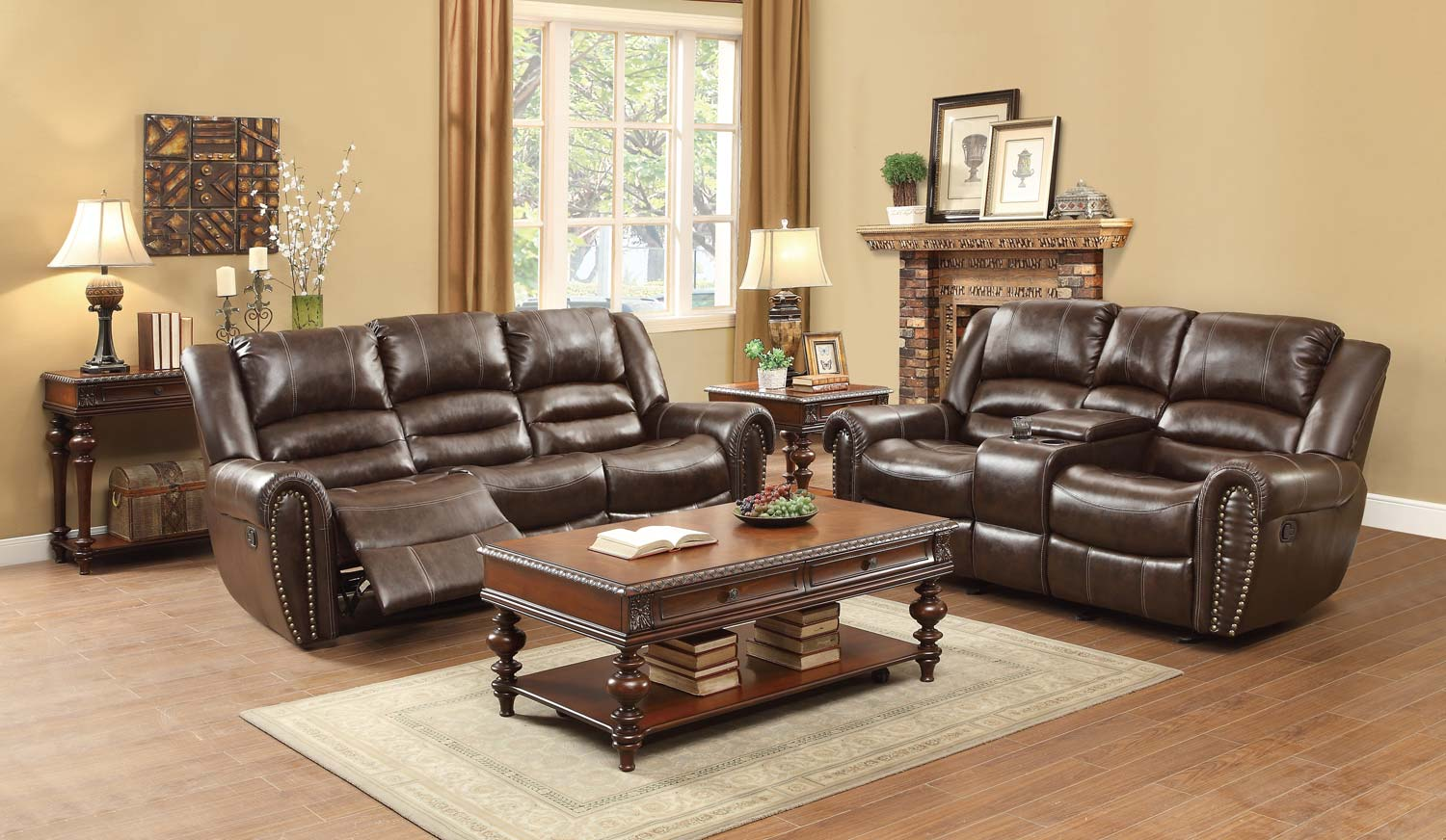 Homelegance Center Hill Reclining Sofa Set Dark Brown Bonded Leather Match 9668brw Sofa Set
