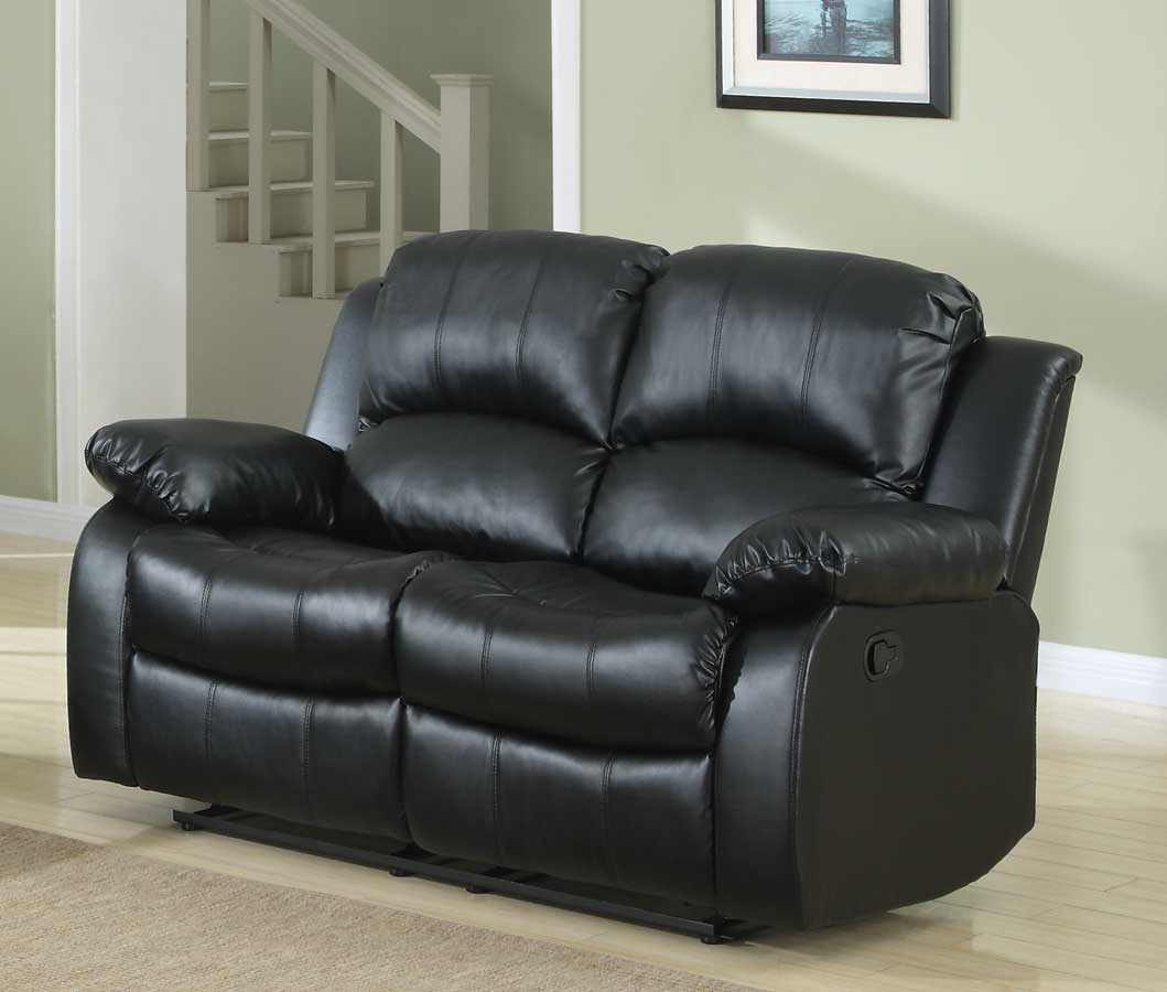 Homelegance Cranley Double Reclining Love Seat - Black Bonded Leather