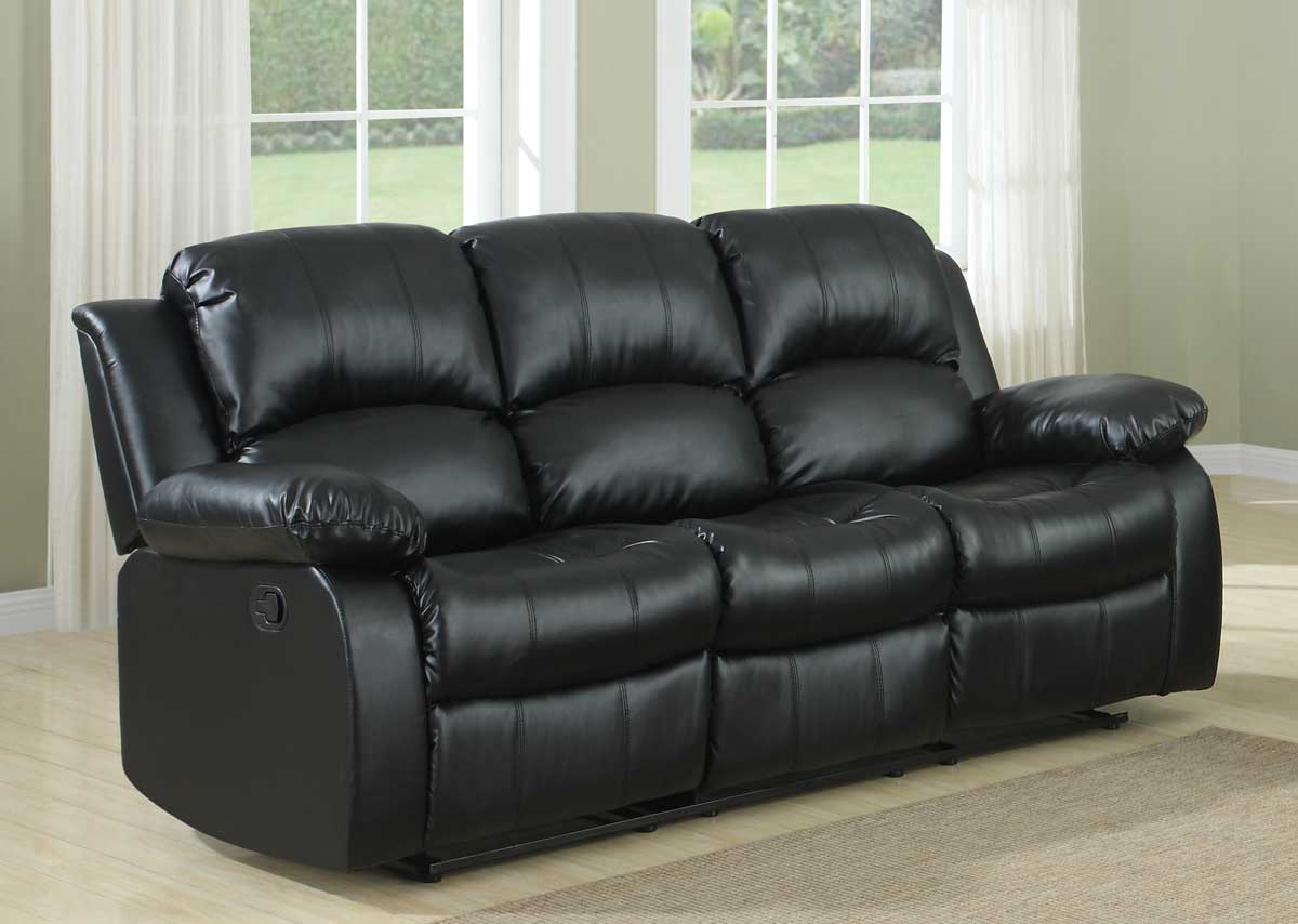 Homelegance Cranley Double Reclining Sofa Black Bonded Leather 9700blk 3