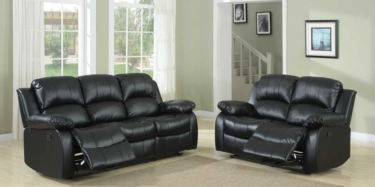 Homelegance Cranley Reclining Sofa Set   Black Bonded Leather