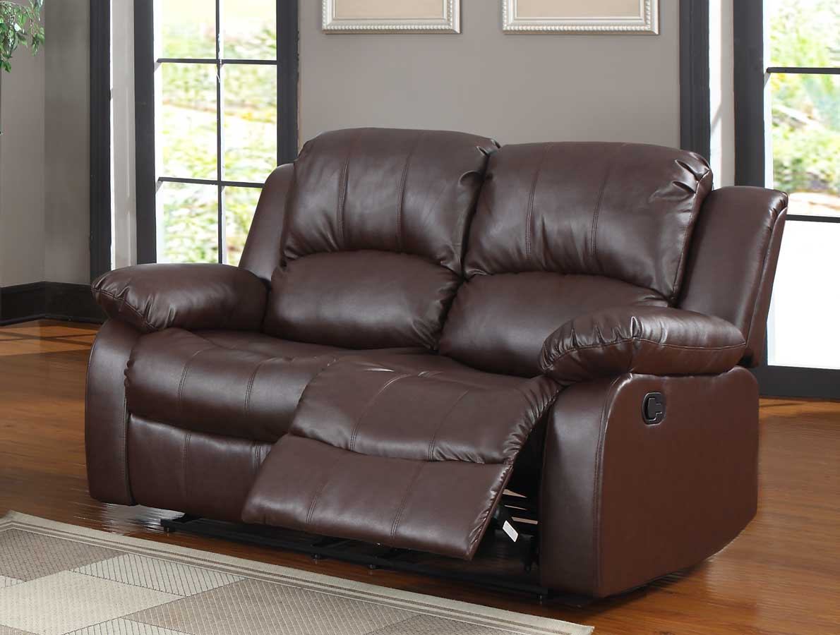 Homelegance cranley double reclining love seat brown bonded leather 9700brw 2 Leather reclining sofa loveseat