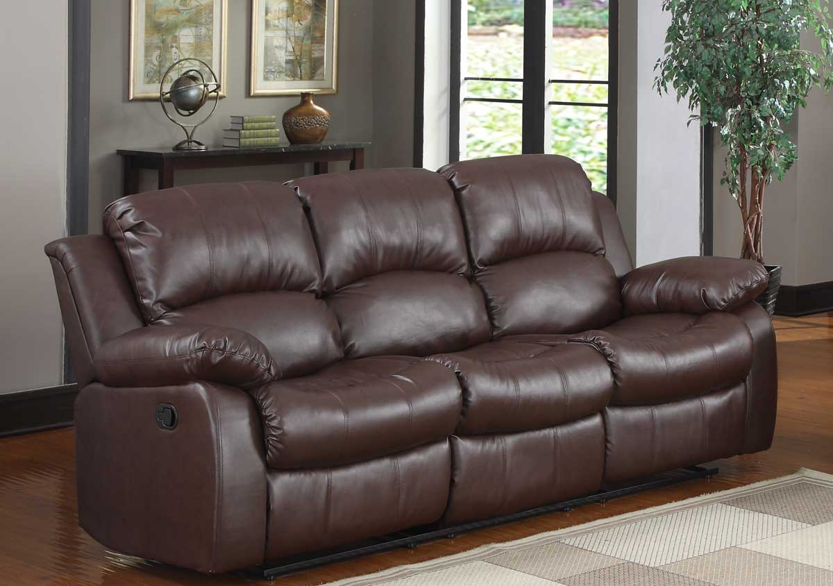 Homelegance Cranley Double Reclining Sofa Brown Bonded Leather
