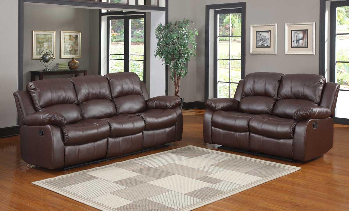 Homelegance Cranley Reclining Sofa Set - Brown Bonded Leather