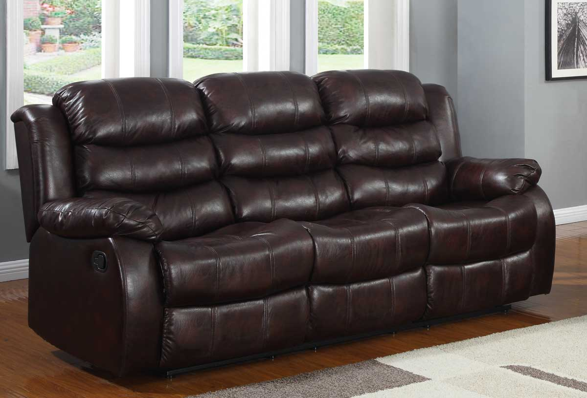 Homelegance Smithee Double Reclining Sofa - Burgundy Polished Microfiber