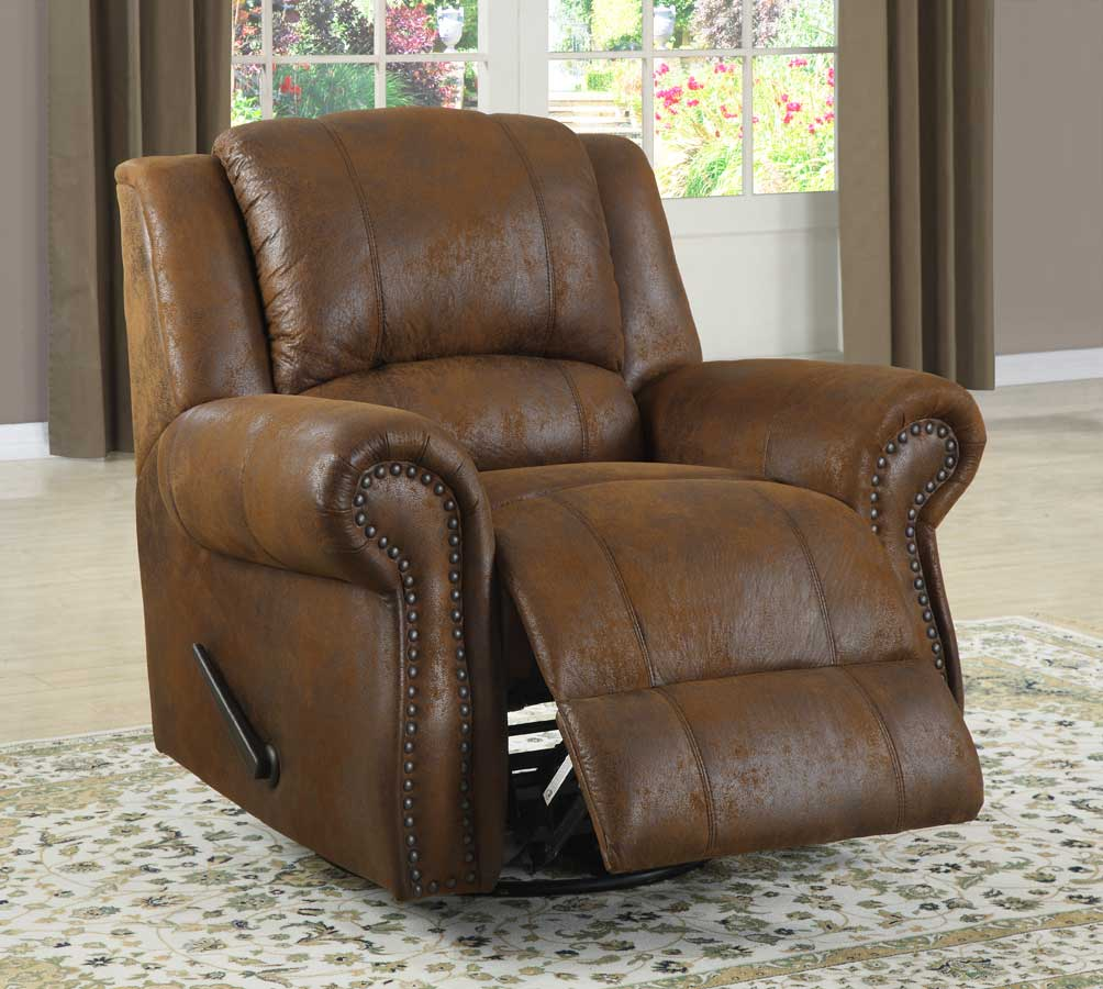 Homelegance Quinn Swivel Rocking Reclining Chair   Bomber Jacket Microfiber